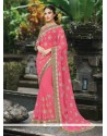 Glorious Embroidered Work Pink Classic Designer Saree