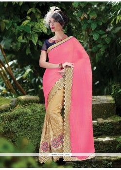 Best Faux Chiffon Pink Patch Border Work Classic Designer Saree