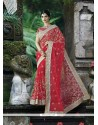Red Embroidered Work Net Classic Designer Saree