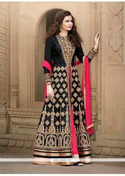 Modish Patch Border Work Banglori Silk Designer Floor Length Salwar Suit