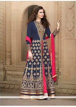 Voluptuous Navy Blue Designer Floor Length Salwar Suit