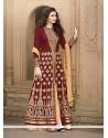 Sumptuous Maroon Embroidered Work Banglori Silk Designer Floor Length Salwar Suit