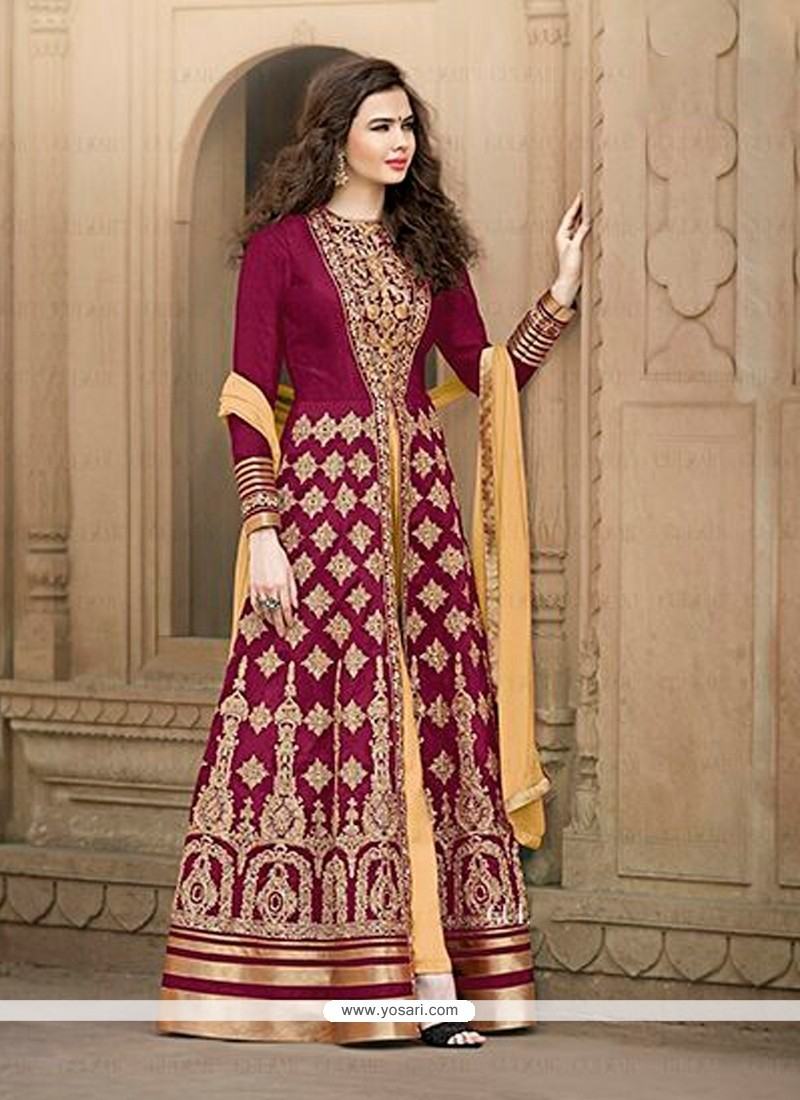 Mesmerizing Patch Border Work Banglori Silk Magenta Designer Floor Length Salwar Suit