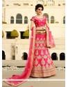 Magnetic Hot Pink Embroidered Work Art Silk A Line Lehenga Choli