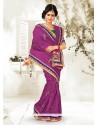 Purple Bhagalpuri Silk Saree