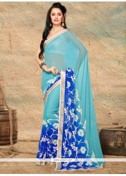 Blue Shaded Chiffon Party Wear Saree