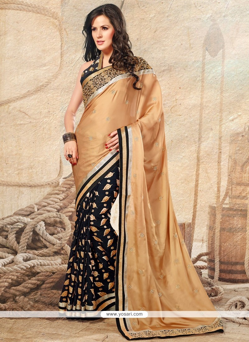 Beige And Black Satin Designer Saree
