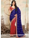 Blue And Red Viscose And Satin Saree