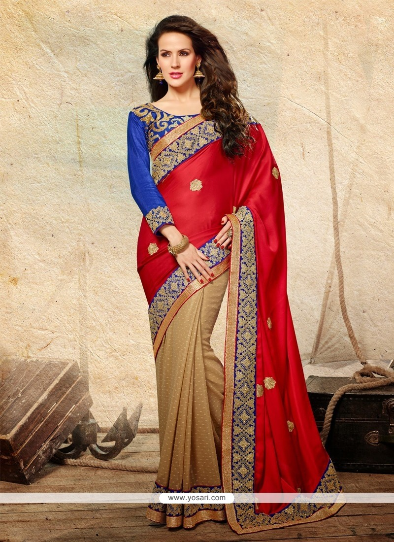 Bedazzling Red Satin Designer Saree