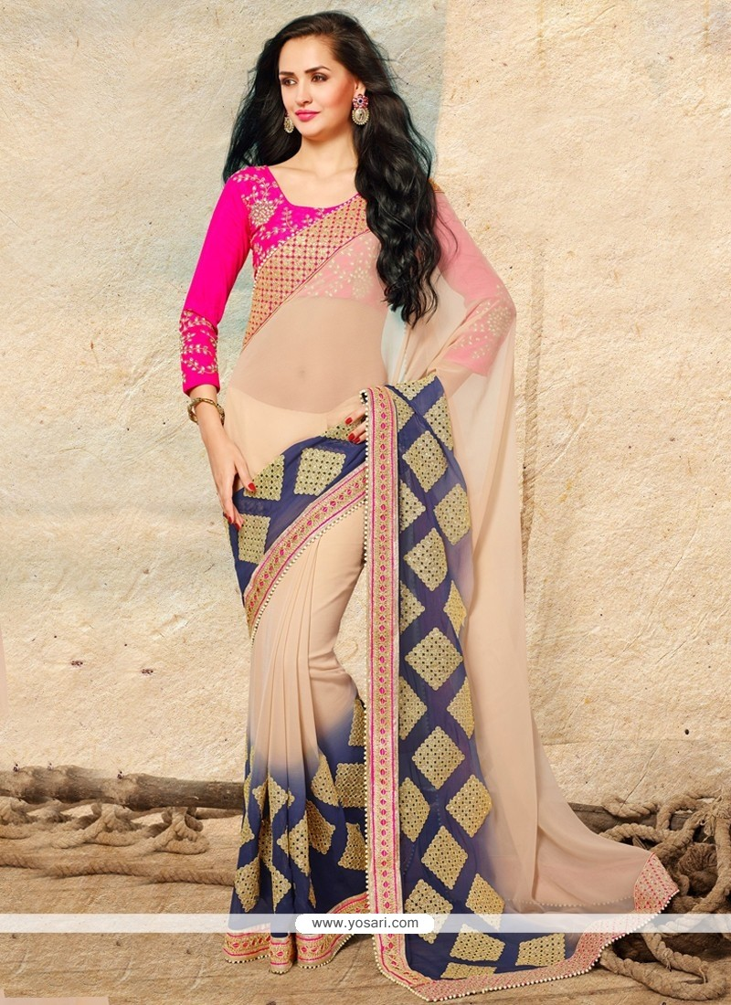 Astonishing Beige Jacquard Party Wear Saree