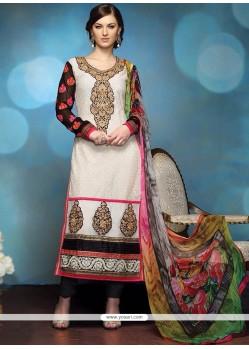 Off White Georgette Zari Churidar Salwar Kameez