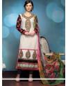 Off White Georgette Zari Churidar Salwar Kameez