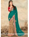 Sea Green And Beige Net Designer Saree