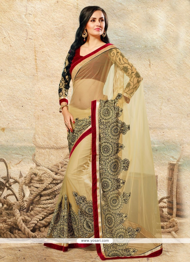 Angelic Beige Net Saree