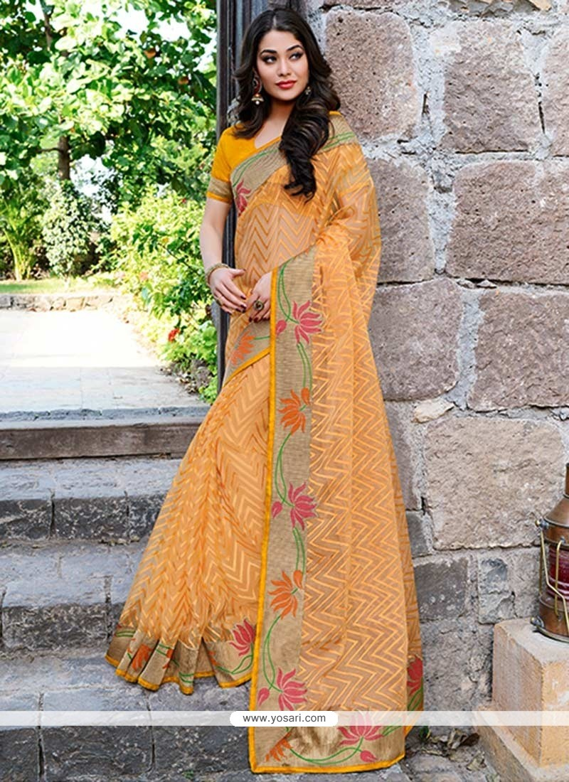 Graceful Orange Brasso Saree