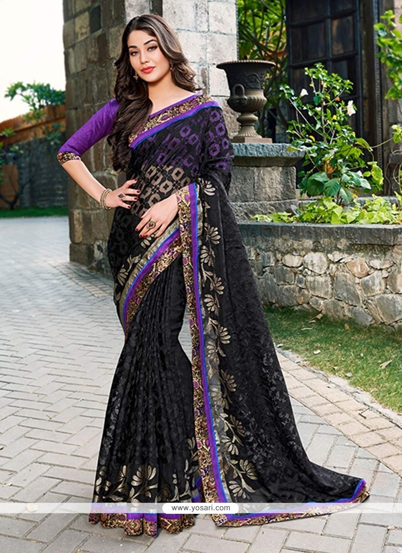 Phenomenal Black Tissue Saree