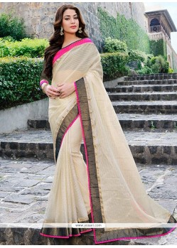 Latest Cream Brasso Saree