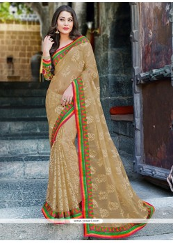 Amazing Beige Tissue Saree