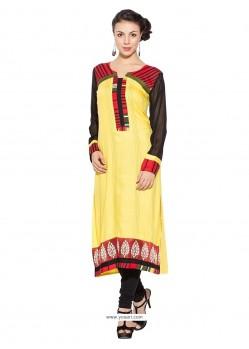 Glorious Yellow Cotton Party Wear Kurti