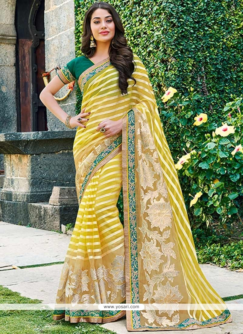 Awesome Yellow Border Work Saree