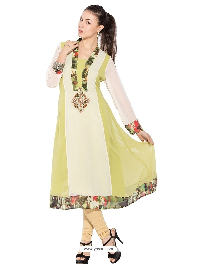 Modish Georgette Cream Patch Border Work Party Wear Kurti