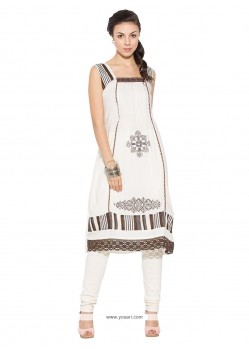 Captivating Cotton Off White Patch Border Work Party Wear Kurti