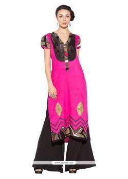 Deserving Fancy Fabric Hot Pink Party Wear Kurti