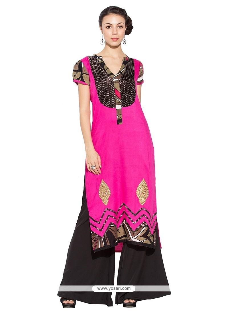 Deserving Fancy Fabric Hot Pink Party Wear Kurti