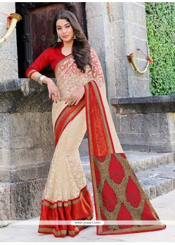 Cream Tissue Party Wear Saree