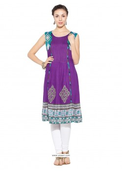 Excellent Embroidered Work Purple Party Wear Kurti