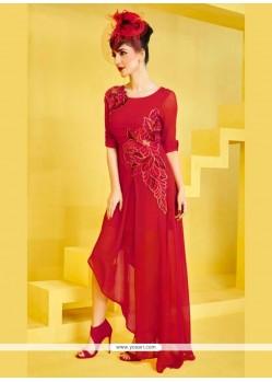 Incredible Embroidered Work Georgette Designer Kurti