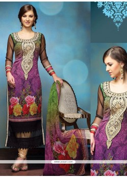 Opulent Purple Embroidery Churidar Salwar Suit