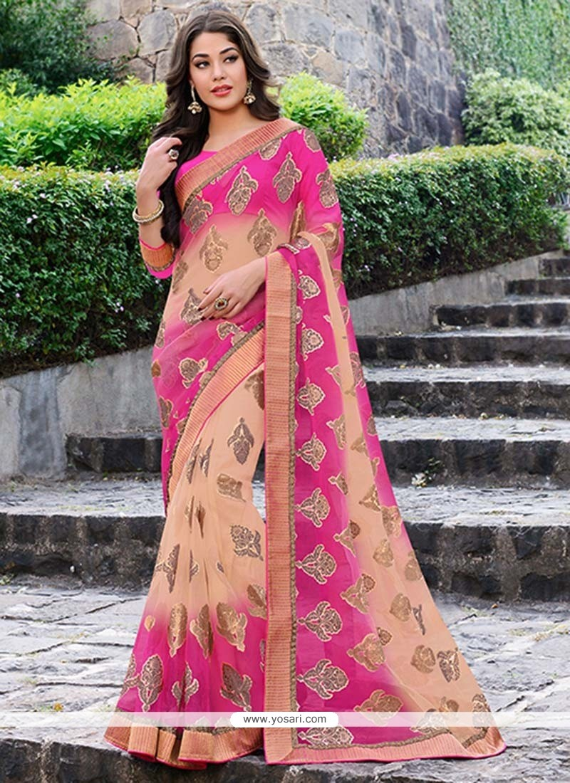 Preety Pink And Peach Shaded Brasso Saree