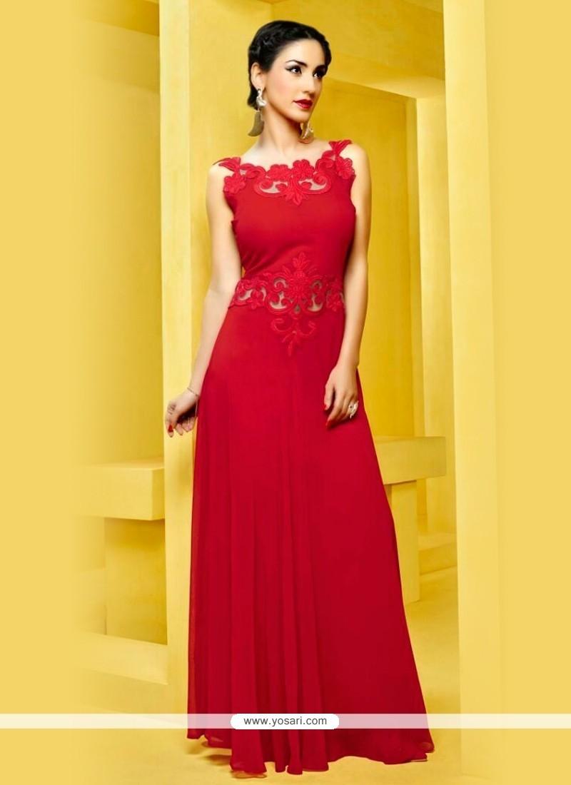 Imposing Red Georgette Designer Kurti