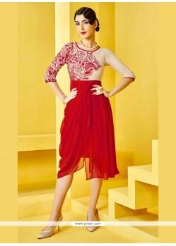 Congenial Georgette Red Designer Kurti
