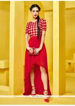 Fashionable Red Designer Kurti