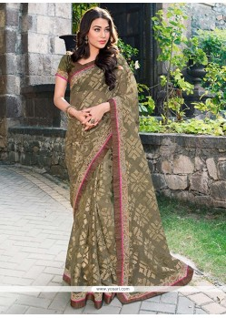 Glorious Green Tissue Saree