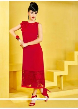 Transcendent Plain Work Red Satin Designer Kurti