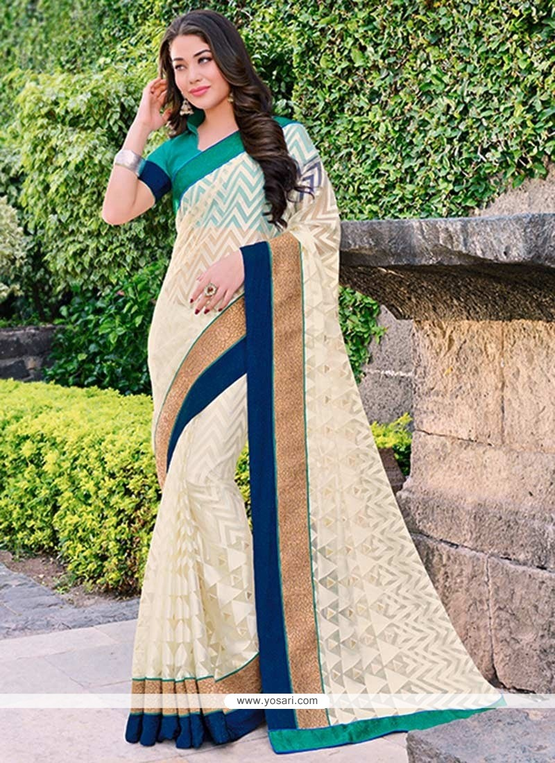 Splendid Cream Brasso Saree