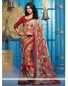 Beige And Maroon Satin Lingaa Movie Style Saree