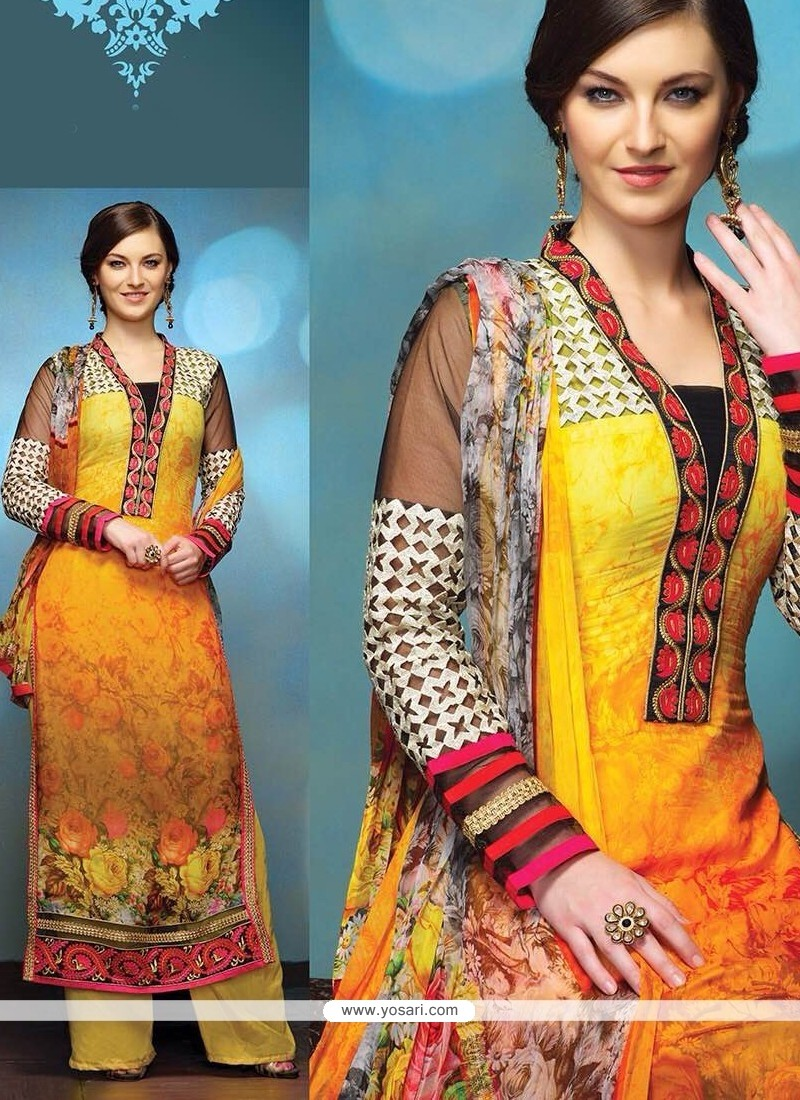 Yellow And Orange Shaded Pure Georgette Salwar Suit