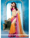 Beige And Orange Chiffon Lingaa Movie Style Saree