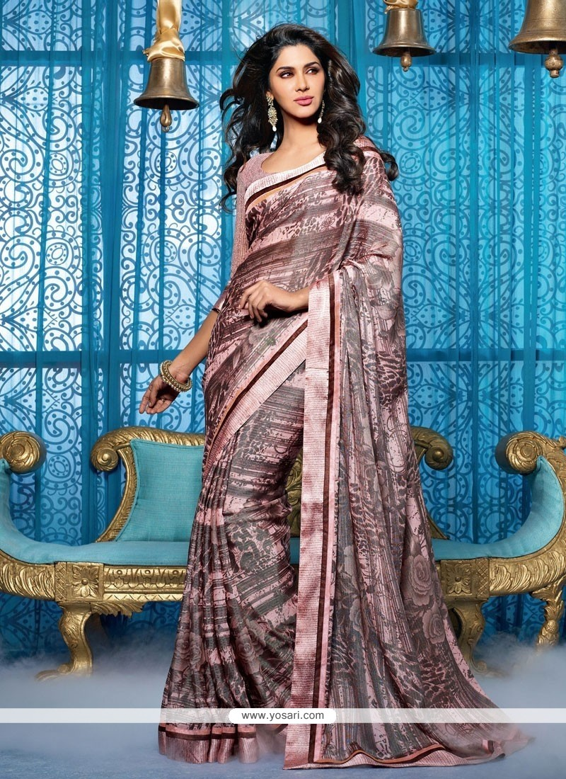 Brown And Pink Brasso Lingaa Style Saree