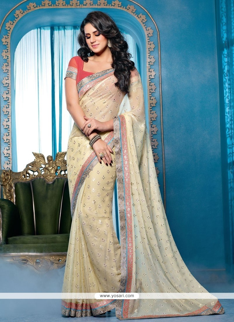 Amazing Cream Lingaa Movie Style Saree