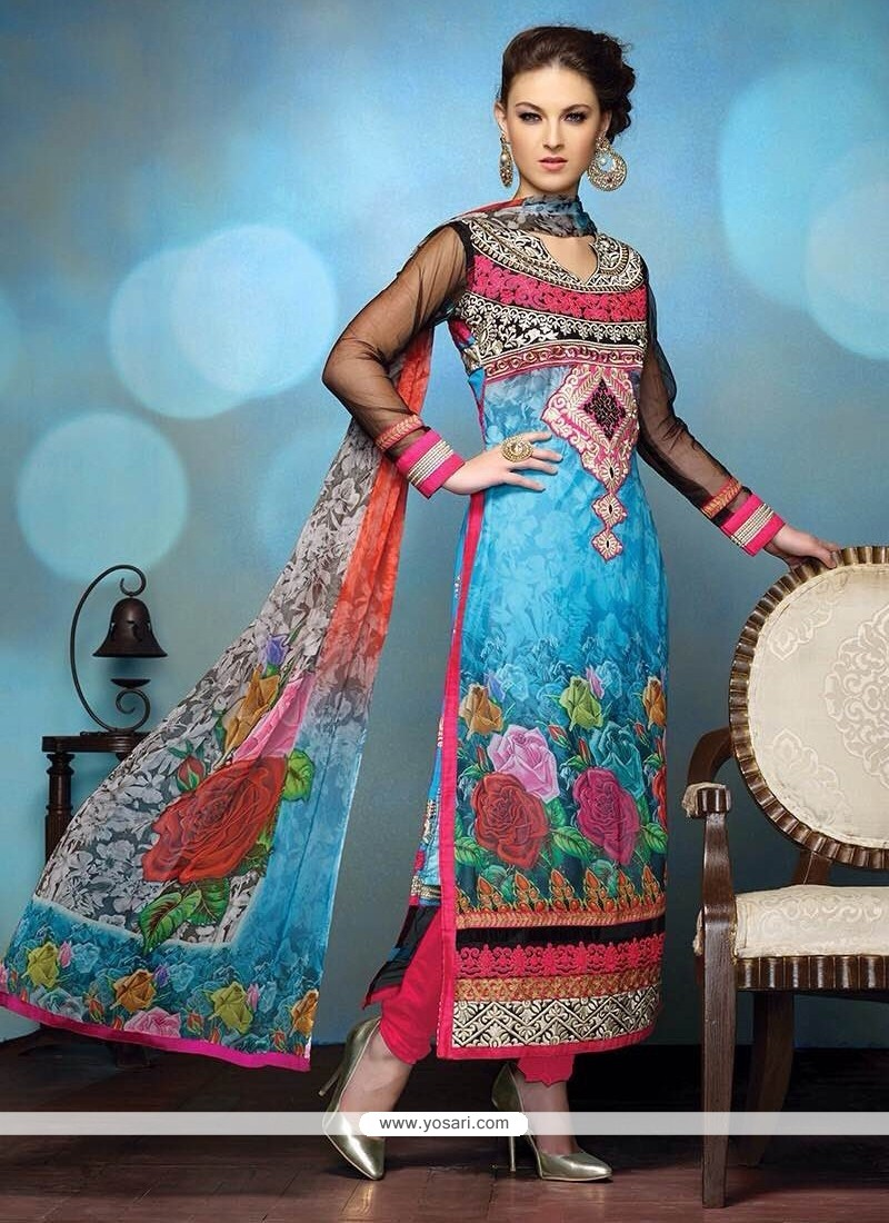 Modern Multicolor Printed Churidar Salwar Suit