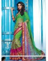 Green Georgette Lingaa Movie Style Saree