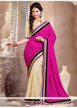 Beige And Pink Viscose Half And Half Saree
