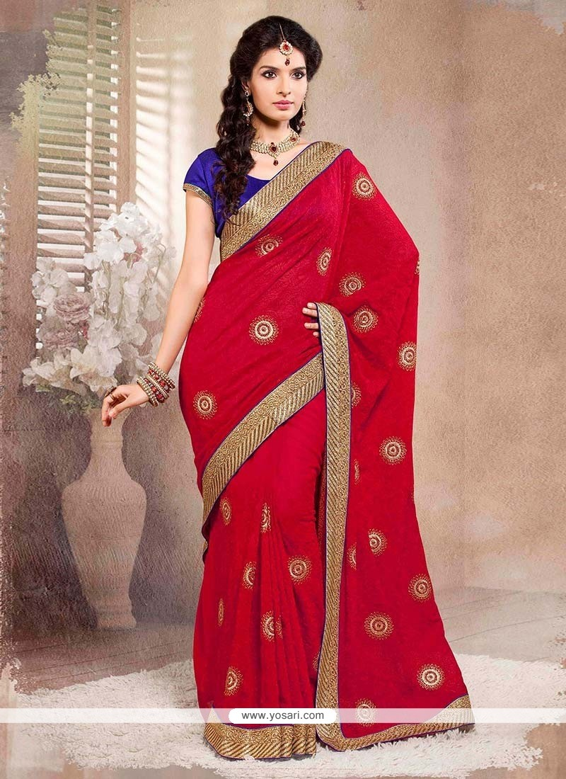 Charming Red Jacquard Saree