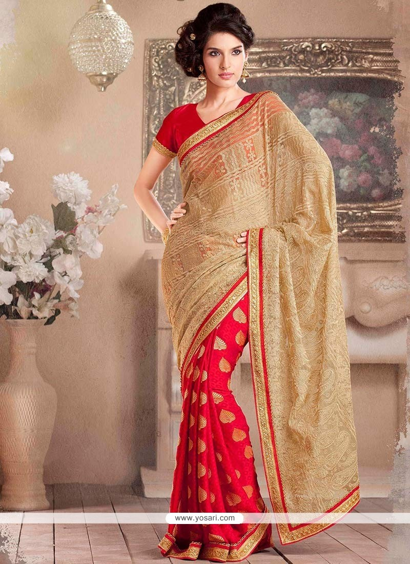 Red And Beige Net Half And Half Saree
