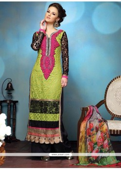 Mesmeric Green Pure Georgette Churidar Salwar Kameez